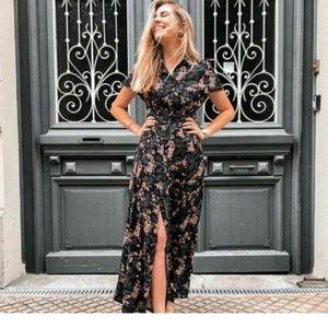 Zara black floral button down midi flowy dress